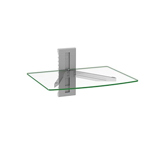 WALI CS201S Floating Wall Mounted Shelf with Transparent Strengthened Tempered Glass for DVD Players, Cable Boxes, Games Consoles, TV Accessories, 1 Shelf, Silver