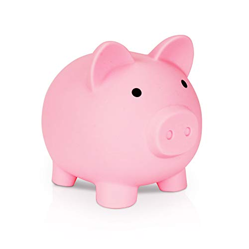 UKKITEK Piggy Bank,Unbreakable Plastic Coin Bank, Saving Coins Money Box, Piggy Bank for Boys Girls Kids, Fun Gifts for Birthday, Christmas, Baby Shower (Pink)