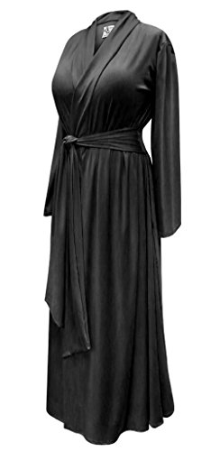 Sanctuarie Designs Solid Black Plus Size Long Robe with Attached Belt (Thicker Rayon 240/MD)