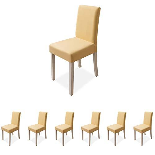 VanderHOME Stuhlhussen Stretch Esszimmer Stuhlhussen Polyester Stuhl Sitzschutz Schonbezug für Küche Hochzeit Partys Bankett 6 Stück Set, Hellgelb