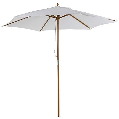 Outsunny Sombrilla Parasol de Madera Ø250x230cm para Exterior Jardín Terraza Patio Cafetería con 6 Varillas Sistema de Cuerda con Fijación Desmontable Portátil Fácil de Guardar y Transportar Marfil