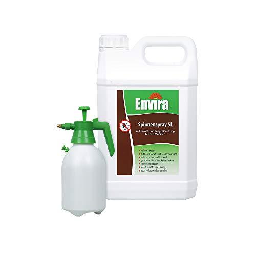 Envira Spinnen-Spray - Anti-Spinnen-Mittel Mit Langzeitwirkung - Geruchlos & Auf Wasserbasis - 5Ltr+2Ltr Drucksprüher