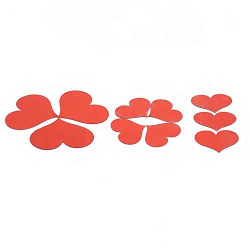 SJHFG 10 pegatinas de pared con espejo de corazón, para decoración del hogar, accesorios de decoración de la pared, suministros de cumpleaños, boda, suministros de regalo, color rojo