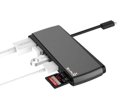KHOMO Adaptador USB Tipo C Hub con Multi Conexiones - Conexion HDMI 4K - 3 Puertos USB 3.0 - Lector Tarjeta Micro SD/SD - Type C Multi Hub - para Apple Macbook Air 2018 y Macbook Pro 2016, 2017, 2018