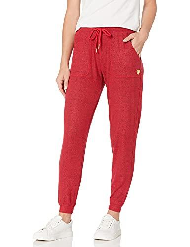 Skechers Cozy Sweatpants Pantalones Deportivos, Chili Pepper Heather/Gold Heart, XS para Mujer