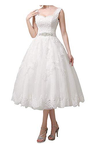 Dreammaking Boho Damen Hochzeitskleider Brautkleider Brautmode Wadenlang Kurz 2020 Ballkleider Crème Weiß Standesamt