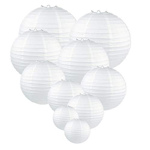 GoFriend Lot de 10 lanternes en papier rondes blanches, suspensions en papier de soie, décorations d'anniversaire, décorations, de fête, de mariage, fête prénatale, tailles assorties