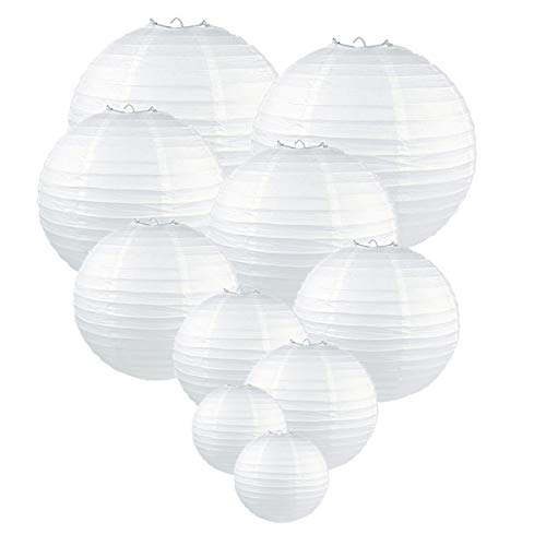 GoFriend 10 Pack White Round Paper Lanterns Tissue Paper Lamps Decor Hanging Lamp Decoration for Birthday Wedding Party Baby Shower Decorations, Assorted Sizes