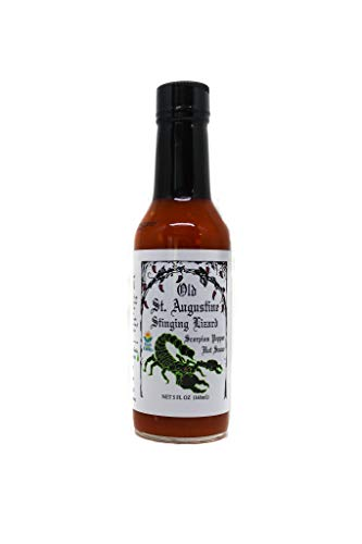 Stinging Lizard Scorpion Pepper Hot Sauce with Garlic and Datil Pepper, 5 oz, Hot Heat with Lots of Flavor