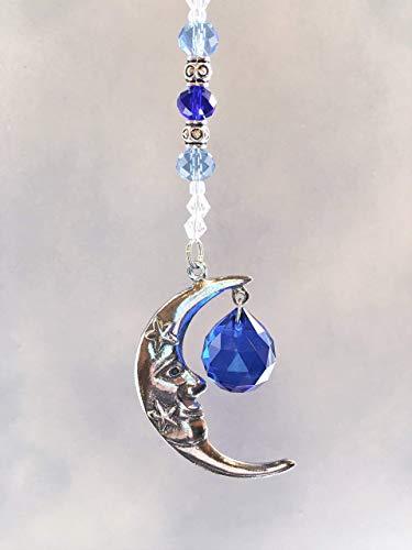 Pewter Blue Moon Rear View Mirror Crystal Car Charm,Celestial Moon Window Sun Catcher, Rainbow Prism Window Ornament, Dark Blue Crystal Ball Prism Suncatcher,Feng Shui Rainbow Maker