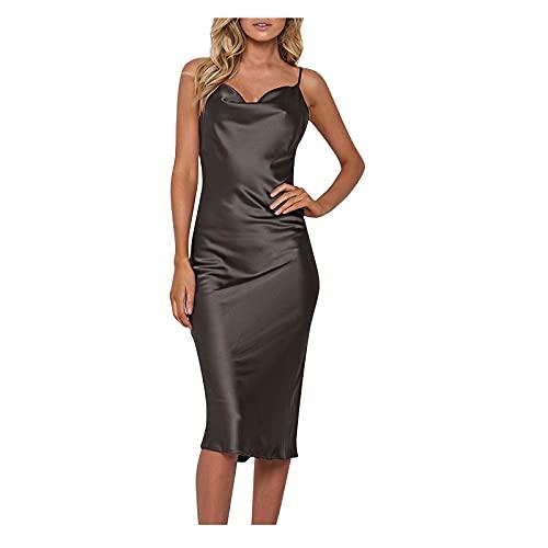 S-UN Damen Sexy Pyjama Kleid Elegante Reine Farbe Nachahmung Seide Schlankes Kleid Bankett Sling Kleid V-Ausschnitt Langes Kleid
