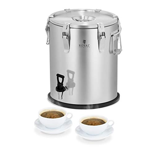 Royal Catering Contenedor Isotermico Termo para Alimentos RCTP-25DT (25 L, Mantenimiento del calor de 6–8 h, Llave de drenaje) Acero Inoxidable