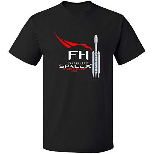 Falcon Heavy Rocket Spacex Elon T-Shirt Sommer Baumwolle Mann T-Shirt Elastizität Lose druckende Hemden Bequemes Rundhalsausschnitt für Party
