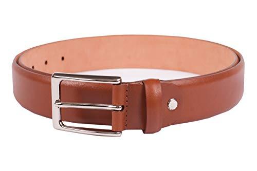 Leder-Gürtel für Herren in cognac: aus 100% Kalbsleder, hergestellt in Handarbeit, ideal als Jeans-Gürtel, Anzug-Gürtel - Vollleder Hosen-Gürtel