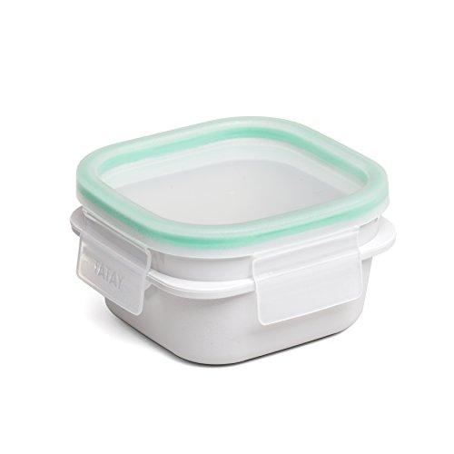 TATAY 1182110 - Opak 0,3 - Contenedor de Alimentos hermético Cuadrado con Sistema de Cierre Clip Safe y junta de Silicona Verde, 0,3 litros de capacidad, Libre de BpA, Blanco, 10.8 x 10.8 x 6 cm