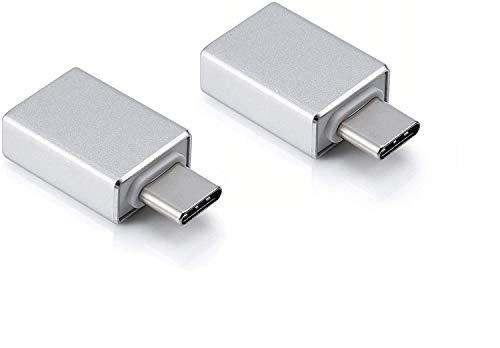AndMore [2 Stücke] USB C Adapter auf USB 3.0 OTG USB Typ C Adapter,Thunderbolt 3 to USB 3.1/3.0/2.0,Kompatibel mit MacBook Pro 2019/2018/2017/Air 2018,Samsung Galaxy,OnePlus,Huawei,Surface- Silber