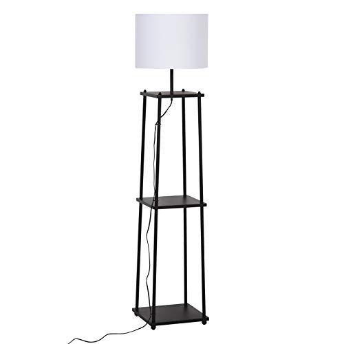 HOMCOM Stehlampe mit 3 Regalen, Stehleuchte, Polyester, Baumwolle, Metall, Schwarz, 34,5 x 34,5 x 150 cm