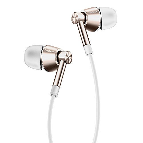1MORE Dual Driver in-Ear Earphones Balanced Warm Sound with Lightweight Comfortable Housing, Tangle-Free Cable, in-Line Remote Control and Integrated Mic for iPhone/Android/PC/Tablet - EO323 Gold