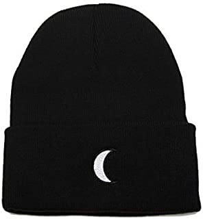 Crescent Moon Hat Beanie for Women Men - Embroidered Warm Winter Cuff Knit Cap