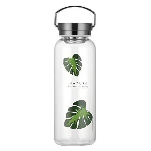 Gulujoy Botella de Agua Cristal 1 Litro Reutilizable con Portátil Tapa INOX Funda Neopreno sin Bpa