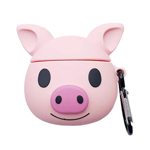 SGVAHY Airpods 1&2 Case, Fashion Cute 3D Cartoon Soft Silicone Pig Design with Ring Buckle Holder Kawaii Fun Cool Skin Shockproof Protective Charging Case for Apple Airpods (Pig Cute)