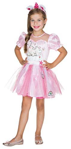Rubie's 380431-140 Theodor Kleid Deluxe Größe 140 Kinder pink Einhorn Karneval Fee Prinzessin Kostüm, Multi-Colored