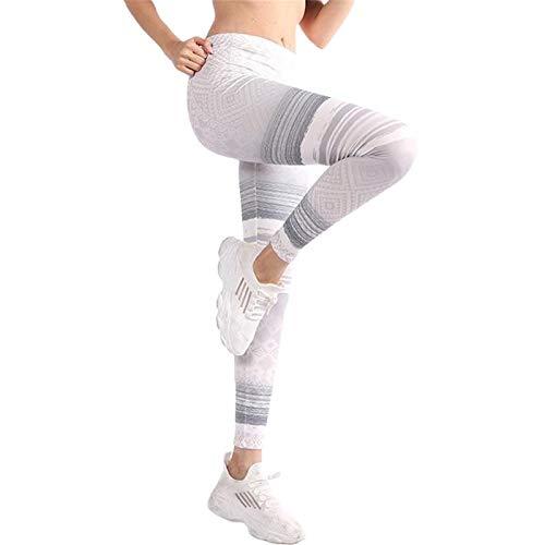 Justwide Pantalones De Yoga De Las Polainas De La Aptitud De Strethcy del Estiramiento De La Cintura Alta De La Impresión De Las Mujeres