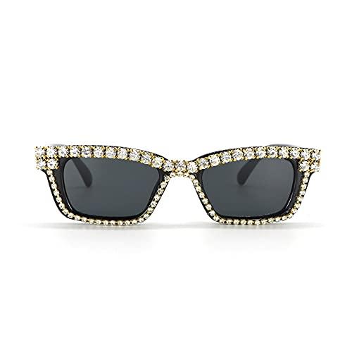 JINZUN Gafas de Sol cuadradas de Moda Gafas de Sol Unisex Gafas de Sol de Diamantes de imitación Anti-UV