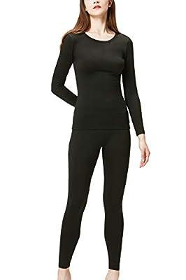DEVOPS Women's Thermal Underwear Long Johns Top & Bottom Set (X-Small, Black)