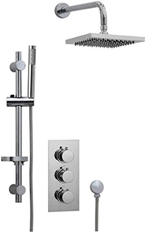 ENKI Unterputz-Duscharmatur Thermostat 3 Wand Gleiter Duschssule 400mm Messing