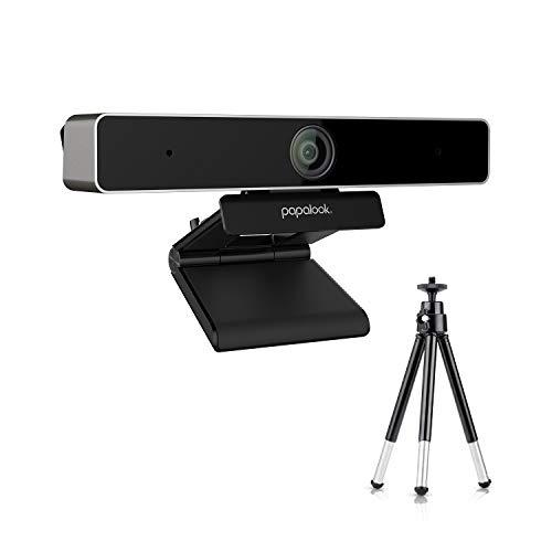 PAPALOOK Webcam 2K con Micrófono Estéreo,Trípode y Web CAM Cover, Cámara Web Plug & Play para Video Chat y Grabación, Compatible con Windows, Mac y Android