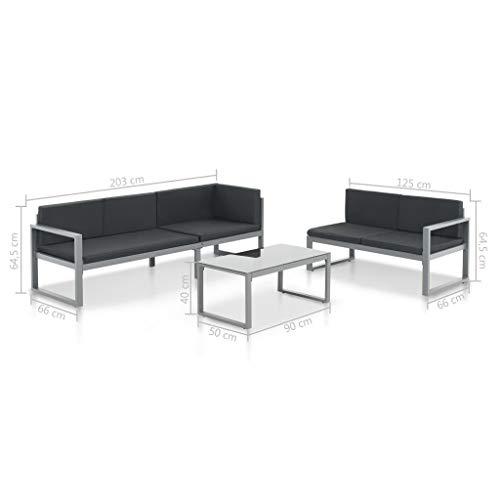Tidyard Conjunto Muebles de Jardín 3 Piezas con Cojines,Sofa Jardin Exterior/Interior para Patio o Jardín,Aluminio Negro