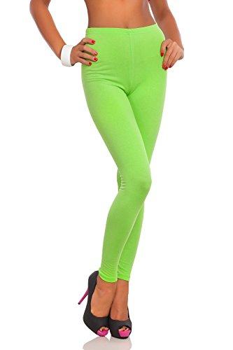 FUTURO FASHION - Damen Leggings aus Baumwolle - knöchellang - weich - Übergrößen - Limettengrün - 38 Klassische Bundhöhe