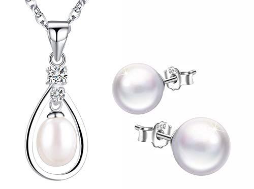 Collar y pulsera de plata esterlina 925 para mujer, collar y pulsera de perlas, conjuntos de joyas de perlas, plata, regalo de cumpleaños de Navidad