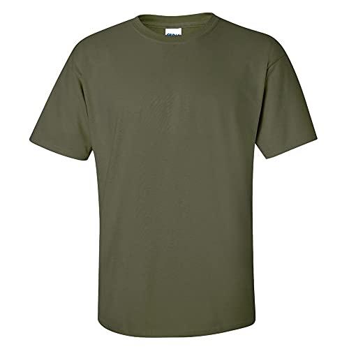 Gildan T-shirt pour homme 100 % coton Vert Vert militaire Large