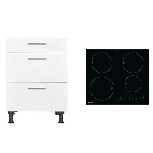 Schrank-Geräte-Set: Kochstellenschrank nobilia KS2A60, 60 cm + Induktions-Kochfeld Leonard LAI6001F, 4 Zonen