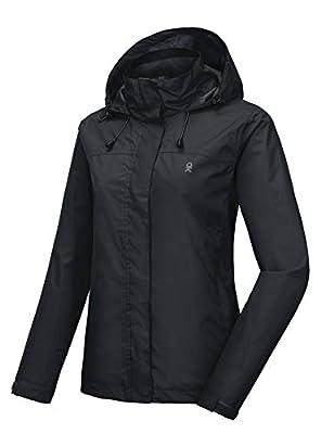 Little Donkey Andy Women's Waterproof Rain Jacket Lightweight Outdoor Windbreaker Rain Coat Shell for Hiking, Travel Black L