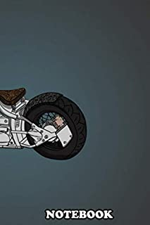 """Notebook: Illustration Of Motorbike Chopper , Journal for Writing, College Ruled Size 6"""" x 9"""", 110 Pages"""