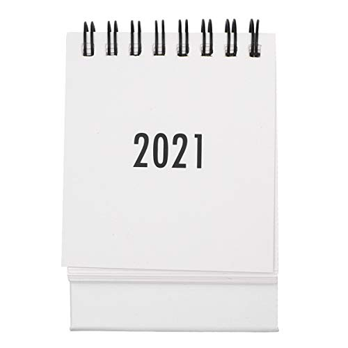 NUOBESTY 2020.7-2021.12 Desktop Calendar 1Pc, Mini Stand Up Table Calendars Desk Coil DIY Memo Pad Yearly Agenda Organizer Schedule Planner for School, Home, Office - White