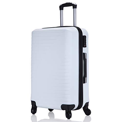 レーズ(Reezu) スーツケース S機内持込 キャリーケース ファスナータイプ 軽量 キャリーバッグ 大型 キャリーバック TSAロック搭載 静音 人気色 旅行出張 耐圧擦り傷防止 保管カバー付 ホワイト white Lサイズ 約83L
