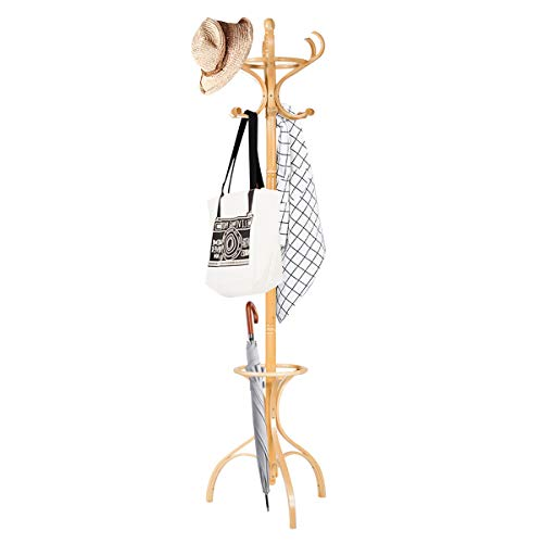 COSTWAY Garderobenständer Holz, Jackenständer mit 12 Haken, Kleiderständer mit Schirmständer, Garderobe Standgarderobe 182cm (Natur)