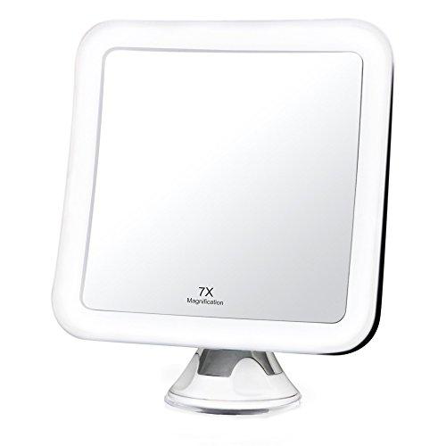 Fancii Espejo Aumento con Luz LED 7x - Espejo de Maquillaje con Ventosa para Viaje, 13 cm de Ancho, 360 Rotación, Portátil y Compacto