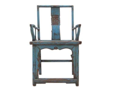 Chine Shanxi 1810 chaise en bois classique fauteuil massif bleu clair orme