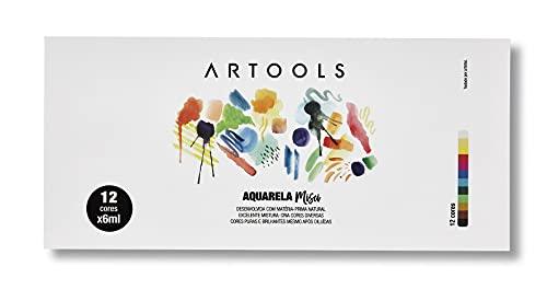 Aquarela Bisnaga Misci 6 ml 12 cores Artools, 610610, Multicor