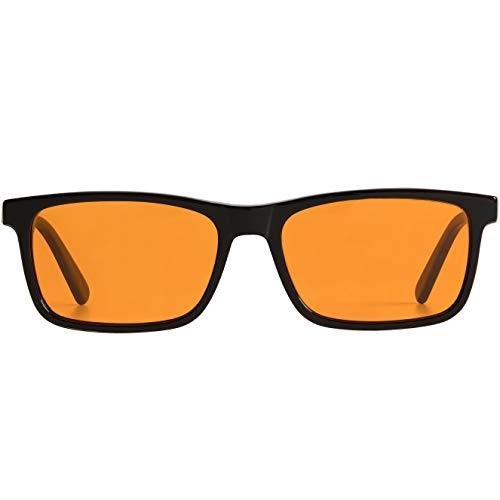 THL Sleep Computerbrille mit blauem Licht für einen besseren Schlaf, normale Gaming-Brille, Filter, künstliches blaues Bildschirm, keine Belastung der Augen, orangefarbene bernsteinfarbene Linsen