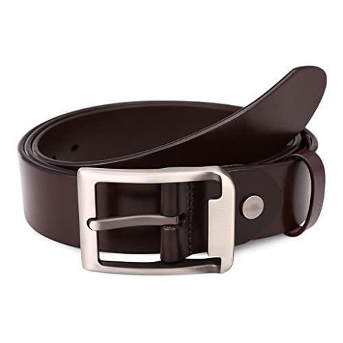 zdz 1.5'Cinturón de los Hombres,Hebilla de aleación marrón Hebilla Reversible Agujero expandido Cinturón de Cuero Simple,Pantalones Vaqueros Ocasionales de los Hombres.