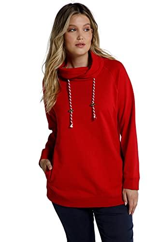 Ulla Popken Damen große Größen Übergrößen Plus Size Basic Sweatshirt, Stehkragen, Raglan Langarm Salsa 46+ 799772530-46+