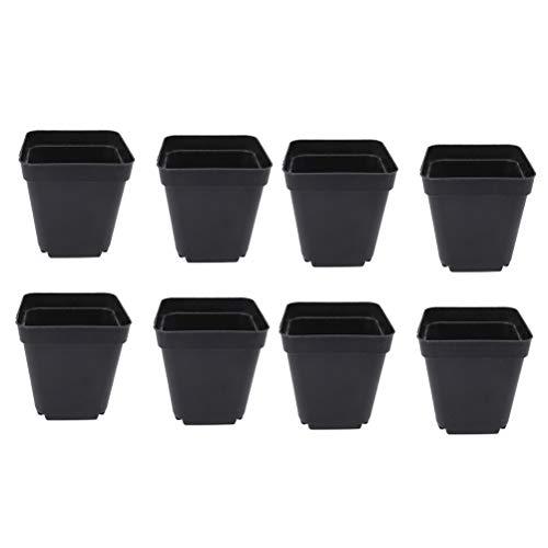 Yardwe 50 STÜCKE Platz sämlinge töpfe Kunststoff pflanzentopf für Garten gewächshaus 6x6x6,5 cm (schwarz)