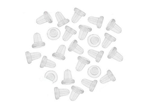 Pendientes de goma transparente con forma de bala de embrague, cierre de tuercas, pendientes para gancho de pescado, paquete de 100