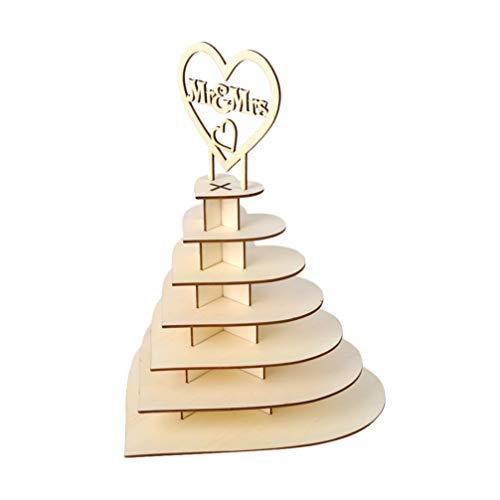 Happyyami Soporte de Madera en Forma de Corazón MR Mrs Soporte de Exhibición para Bombones Chocolate Muffin Decoración para Boda Rústica